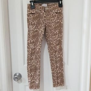Children's place girls distressed cheetah jeans